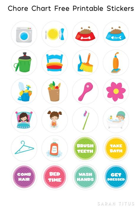 printable color stickers free printable chore chart stickers sarah titus