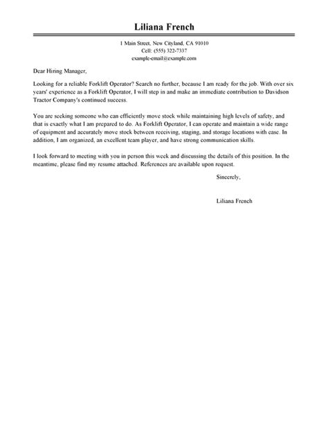 Best Buy Sales Operator Cover Letter by Best Forklift Operator Cover Letter Exles Livecareer