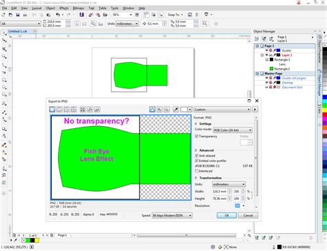 corel draw x7 bugs effect lens export png transparency problem coreldraw