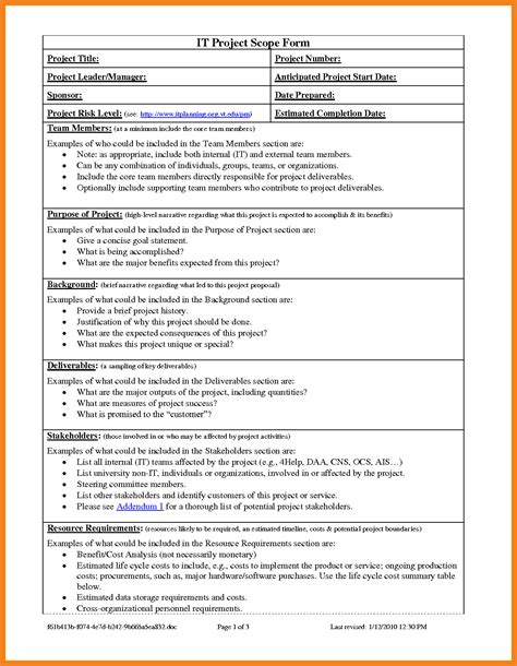 project scope template teller resume sle