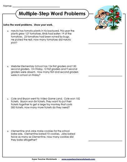 multiple step word problem worksheets 3rd grade