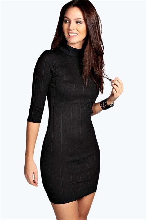 Dress Turtle V Neck tara turtle neck rib bodycon dress at boohoo
