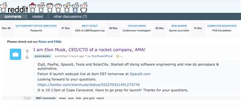 elon musk reddit elon musk ceo of tesla spacex is doing a reddit ama