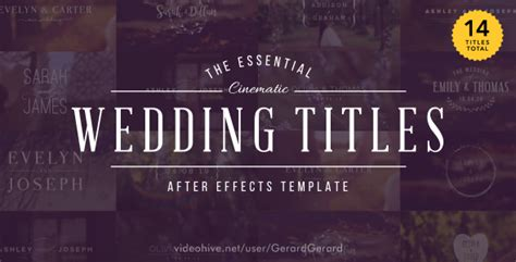 Videohive Wedding Titles 15927020 Free Download Free After Effects Template Videohive Projects Wedding Title Templates After Effects