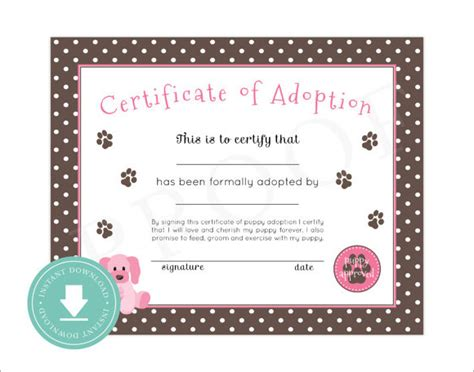 pet adoption certificate template sle adoption certificate template 18 documents in