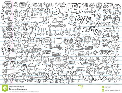 free doodle vector set doodle design elements vector set royalty free stock