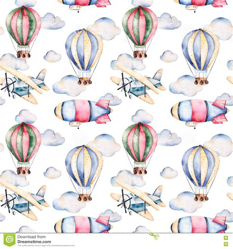 watercolor pattern with air balloons and clouds stock seamless pattern with air balloons airship clouds and the