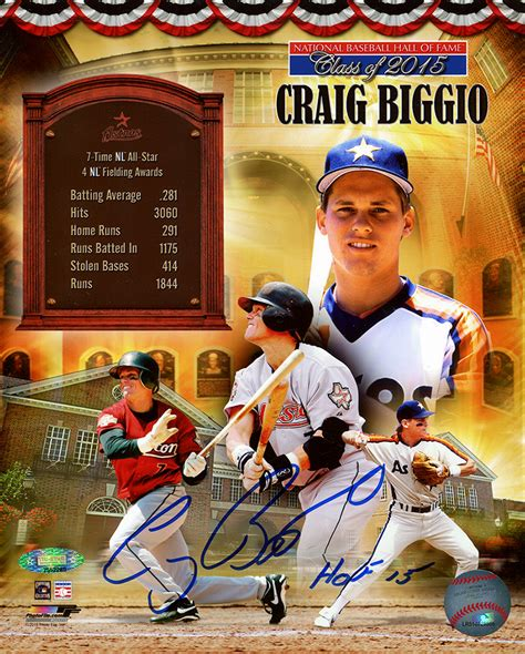 craig biggio autographed official of fame 8x10 photo collage inscribed hof 15