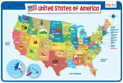 kid map of usa laminated and washable usa map placemat for