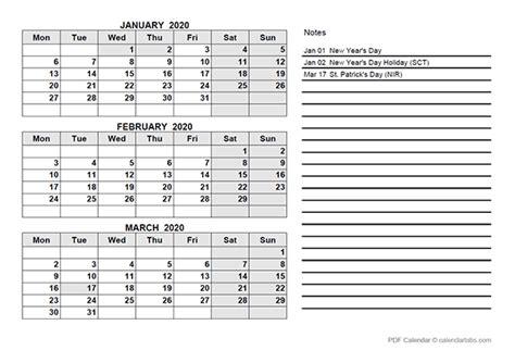 uk quarterly calendar template  printable templates