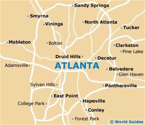 Atlanta On The Map by Atlanta Travel Guide And Tourist Information Atlanta