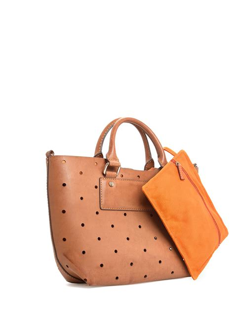 Mango Fashionably Laptop Bags by Mango Lasercut Small Bag In Brown Leather Lyst