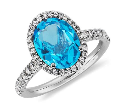 blue topaz and ring in 18k white gold 10x8mm
