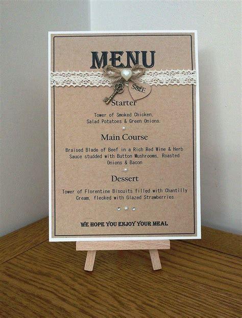 Handmade Menu - handmade personalised rustic style wedding table menu card