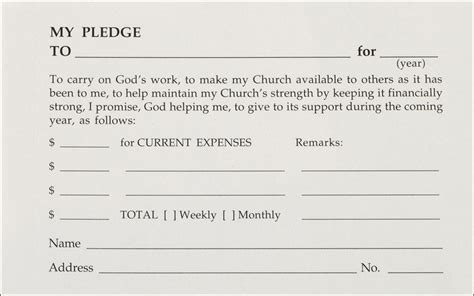 pledge card template for church pledge and welcome cards one write company