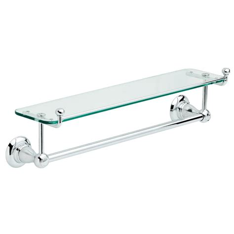 Chrome Bathroom Shelves For Towels Delta Porter 18 In Towel Bar With Glass Shelf In Chrome 78410 Pc The Home Depot