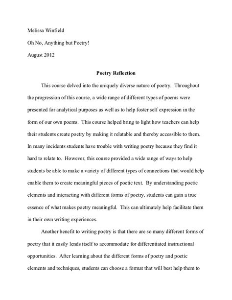 how to write a course reflection paper poetry reflection paper