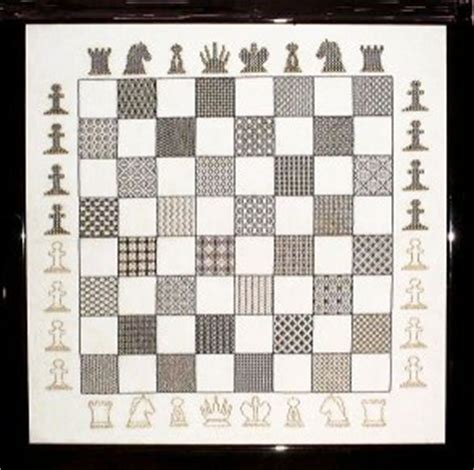 chess board design make your blackwork up into a cushion pillow
