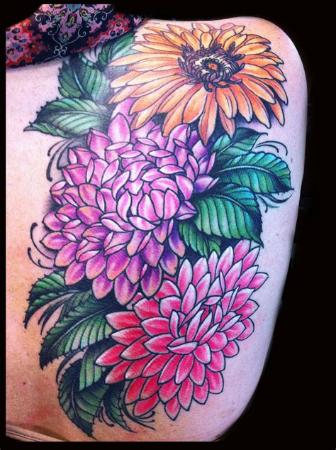 girly flower tattoos flower dahlia sunflower girly done by