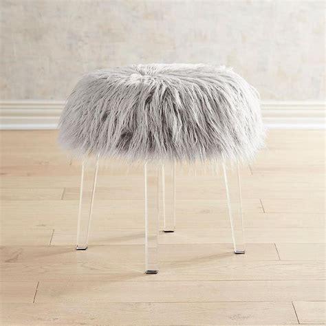 gray fur vanity stool faux fur pink acrylic vanity stool