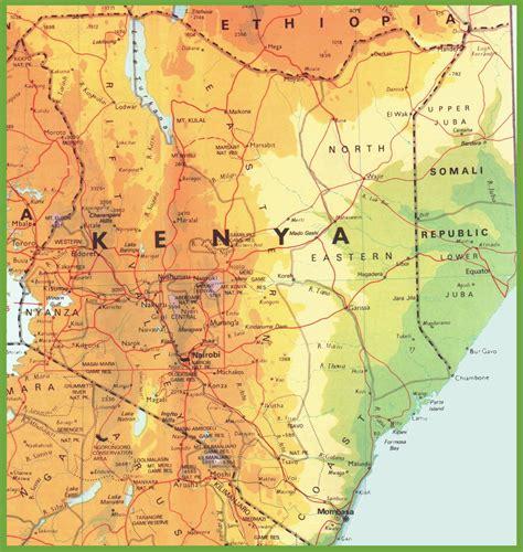 printable map kenya kenya road map