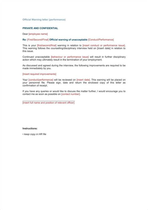9 absence warning letter templates free word pdf