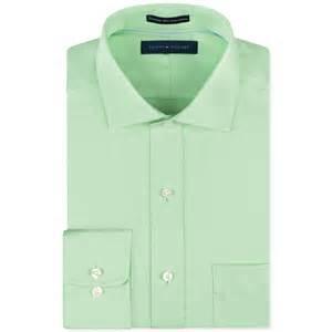 Dress Shirts Hilfiger Noniron Light Green Solid Dress Shirt In
