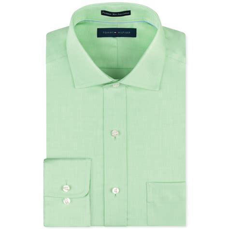 Shirt Green Light hilfiger noniron light green solid dress shirt in