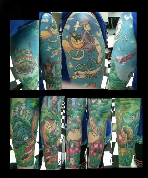 anime sleeve tattoo ideas on totoro vintage flowers and