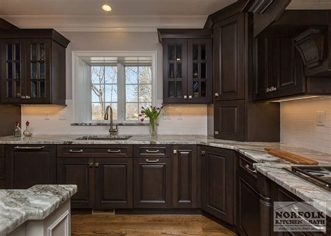 Greywash cherry custom kitchen with white island