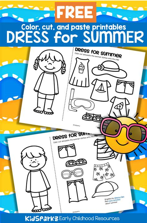 color and cut free color cut and paste the summer clothes onto