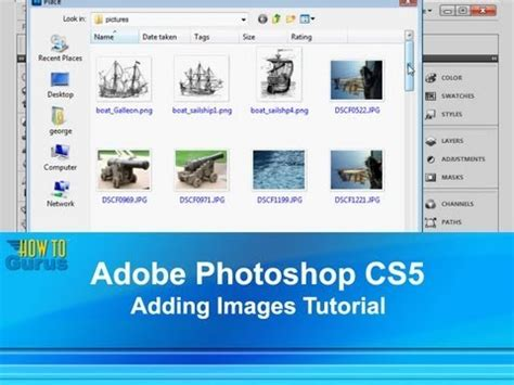 adobe photoshop learning tutorial adobe photoshop cs5 adding images tutorial how to insert