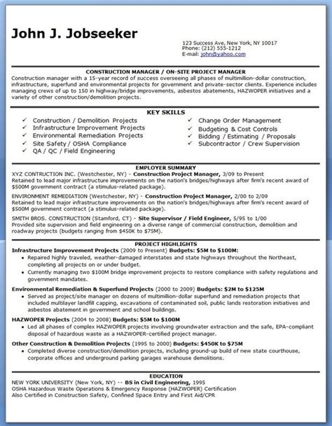 Construction Management Resume by 17 Best Ideas About Construction Manager On