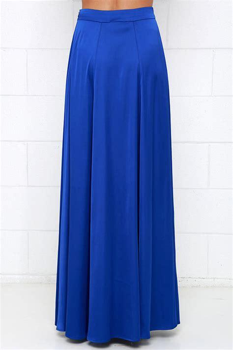 cobalt blue skirt maxi skirt high waisted skirt