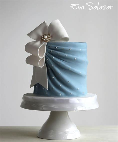Bridal Cake Designs by Simple Blue Bridal Shower Cake By Salazar Cakes