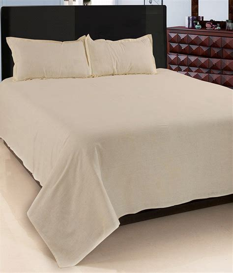 bed sheets and pillow covers exhome beige plain cotton bed sheet with 2 pillow covers buy exhome beige plain cotton bed
