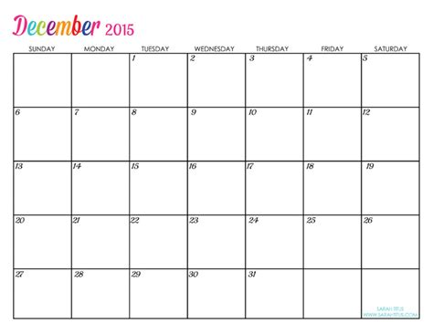 printable calendar 2015 november and december free blank online calendar december 2015 sarah titus