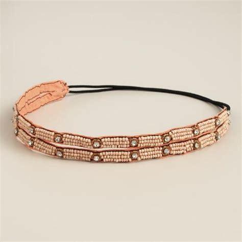 elastic beaded headbands blush beaded elastic headband world market