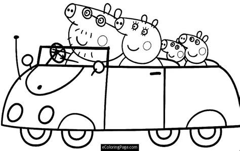 peppa pig valentines coloring pages peppa pig and driving car coloring page for printable