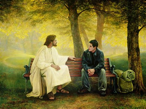jesus on a bench lost and found painting by greg olsen