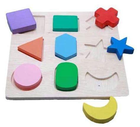 Puzzle Kayu Bentuk jual puzzle 9 bentuk timbul mainan edukatif edukasi anak