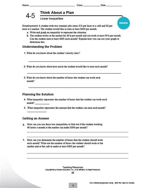 Pearson Math Worksheets by Pearson Integrated High School Math Common Program