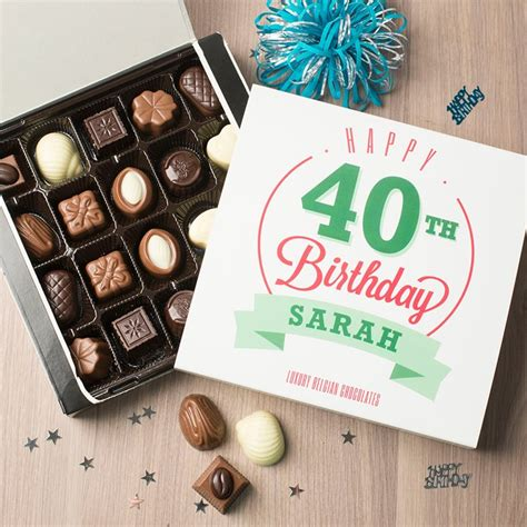 personalised belgian chocolates happy 40th birthday