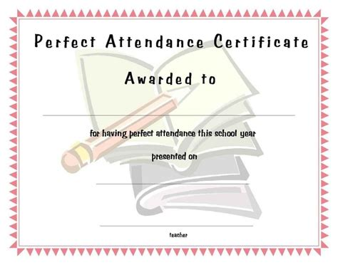 free printable perfect attendance certificate template