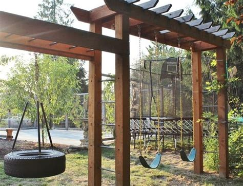 swing layout elements swing set with arbor like elements the landscaping around