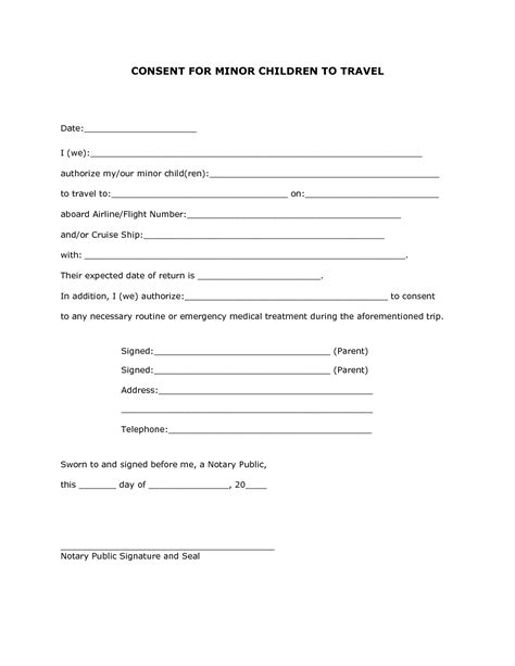 child information form template child travel consent form template it resume cover