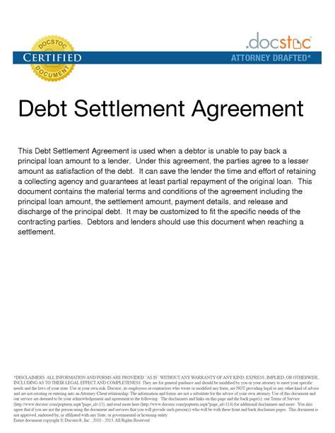 Debt Settlement Agreement Letter Template 10 Best Images Of Debt Settlement Agreement Template Debt Settlement Agreement Letter Sle