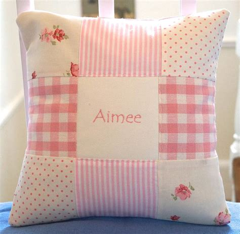 Patchwork Nursery - patchwork nursery name cushion by tuppenny house designs