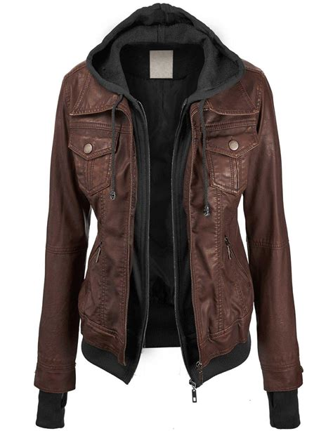 Jaket Parasut 2in1 Xl ll womens hooded faux leather jacket from jackets