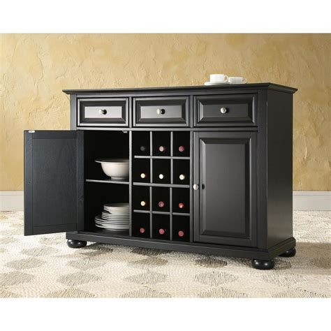Kitchen Server Cabinet Crosley Alexandria Black Buffet Kf42001abk The Home Depot